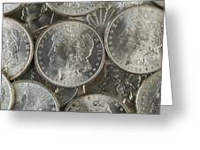 Many American Silver Dollars  Greeting Card