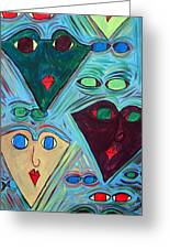 Many Faces Blue Greeting Card