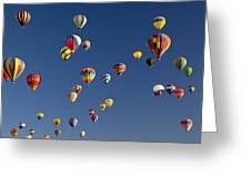 Many Vividly Colored Hot Air Balloons Greeting Card