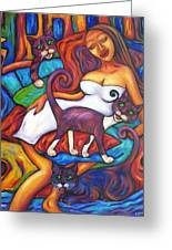 Maori Girl And Three Cats Greeting Card