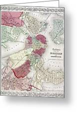 Map: Boston, 1865 Greeting Card by Granger