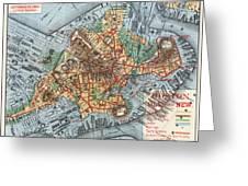 Map: Boston, C1880 Greeting Card