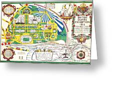 Map British Empire Exhibition Wembley Park London 1924 Greeting Card