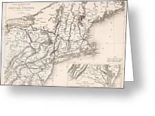 Map: Northeast U.s.a Greeting Card
