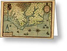 Map Of America 1590 Greeting Card