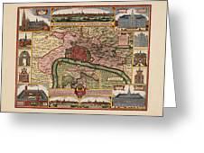 Map Of Antwerp 1675 Greeting Card