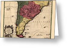 Map Of Argentina 1700 Greeting Card