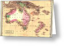 Map Of Australia 1828 Greeting Card