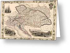 Map Of Austria 1850 Greeting Card