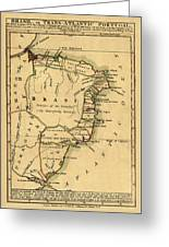Map Of Brazil 1808 Greeting Card
