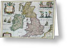 Map Of Britain Greeting Card by English school