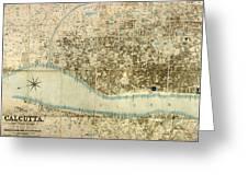 Map Of Calcutta 1857 Greeting Card