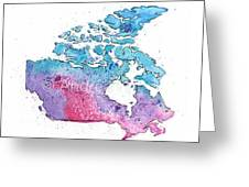 Map Of Canada With A Watercolor Texture In Pink, Blue And Purple Greeting Card