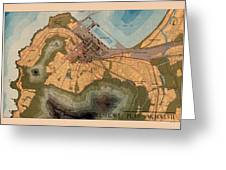 Map Of Cape Town 1947 Greeting Card
