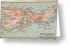 Map Of Capri 1909 Greeting Card
