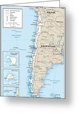 Map Of Chile Greeting Card