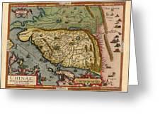 Map Of China 1590 Greeting Card