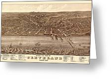 Map Of Cleveland 1877b Greeting Card