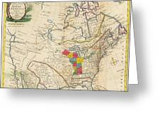 Map Of Colonial North America  Greeting Card