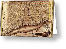 Map Of Connecticut 1795 Greeting Card