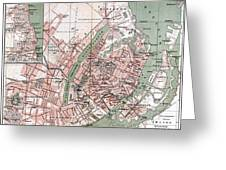 Map Of Copenhagen 1888 Greeting Card
