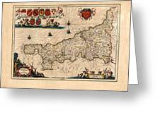 Map Of Cornwall 1646 Greeting Card