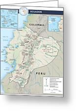 Map Of Ecuador 2 Greeting Card