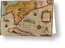Map Of Florida 1591 Greeting Card