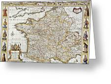 Map Of France, 1627 Greeting Card