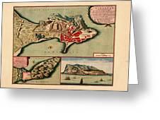 Map Of Gibraltar 1706 Greeting Card