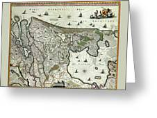 Map Of Holland 1682 Greeting Card