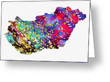 Map Of Hungary-colorful Greeting Card