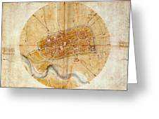 Map Of Imola 1502 Greeting Card