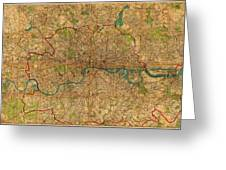 Map Of London England United Kingdom Vintage Street Map Schematic Circa 1899 On Old Worn Parchment  Greeting Card