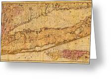 Map Of Long Island New York State In 1842 On Worn Distressed Canvas  Greeting Card