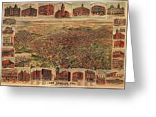 Map Of Los Angeles 1891 Greeting Card