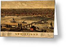 Map Of Louisville Kentucky Vintage Birds Eye View Aerial Schematic On Old Distressed Canvas Greeting Card