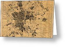 Map Of Madrid Spain Vintage Street Map Schematic Circa 1943 On Old Worn Parchment  Greeting Card