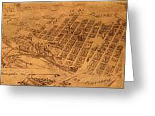 Map Of Minneapolis Minnesota Vintage Birds Eye View Aerial Schematic On Old Distressed Canvas Greeting Card