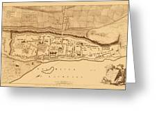 Map Of Montreal 1758 Greeting Card