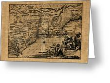 Map Of New York 1600 Greeting Card
