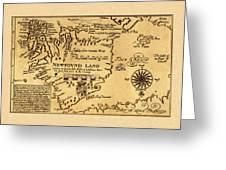 Map Of Newfoundland 1625 Greeting Card