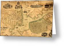 Map Of Norfolk 1851 Greeting Card