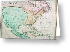 Map Of North America Greeting Card by English School
