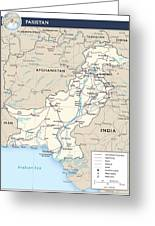 Map Of Pakistan Greeting Card