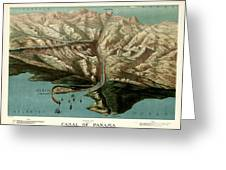 Map Of Panama Canal 1881 Greeting Card