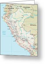 Map Of Peru 2 Greeting Card