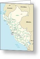 Map Of Peru Greeting Card