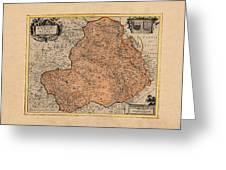 Map Of Rheims 1636 Greeting Card