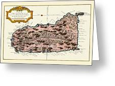 Map Of Saint Lucia 1758 Greeting Card